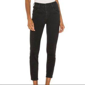 Free People Riley Seamed Skinny Jeans Worn Black Size 25 NWT